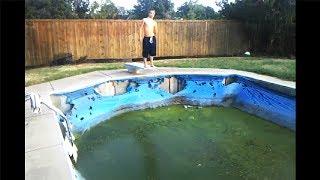 kid jumps in gross swimming pool for fun...