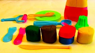 Learn Colors with Play Doh Animal Molds Dinosaur Tractor Rhino Crab Apple Fun