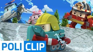 Poke is in danger of falling into the water!  | Robocar Poli Rescue Clips
