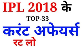 IPL 2018 Related TOP Question Answers Current Affairs// जरूरदेखलेना