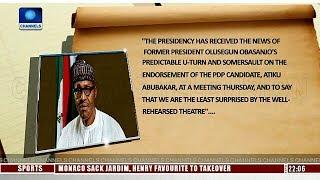 Obasanjo's Endorsement Of Atiku Will Not Distract Buhari-- Presidency 11/10/18 Pt.1 |News@10|