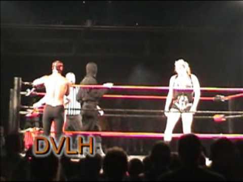 Isis 7 foot tall female wrestler beats up 3 men DVLH Wrestling