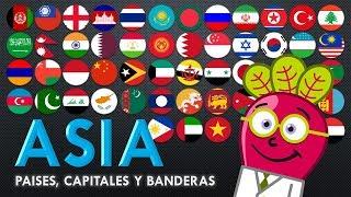 Paises Capitales y Banderas de Asia para Niños   Mapa Educativo   Educacion Primaria   Geografia