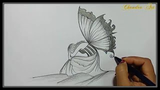 Cool Easy Drawings - Pencil Drawing a Beautiful Sad Picture ➤Easy