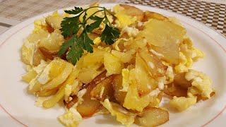 Receta -  Revuelto de patatas con huevo y ajo   Cocina con Rock