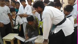 Karate Breakings Nellore School Children Martial arts Master Prabhakar Reddy Indian Wushu