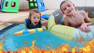 Night Swim - THE POOL IS LAVA CHALLENGE Kids Game