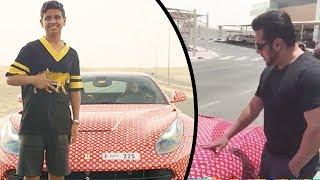 Salman Khan Checks Out The Customised Ferrari Of Rashed Money Kicks - Dubai