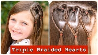 Triple Braided Hearts | Valentines Day Hairstyles