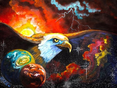 watch 100k live Day and Night Galaxy Eagle Painting acrylic Tutorial for beginners