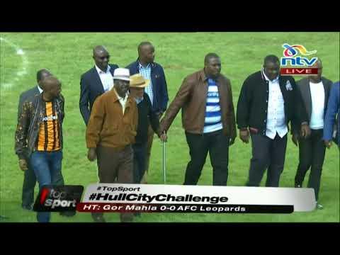 Raila Odinga and soccer legend wizard Joe Kadenge arrive at Afraha stadium