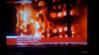 GRENFELL TOWER ON FIRE!! View from Kilburn and BBC News
