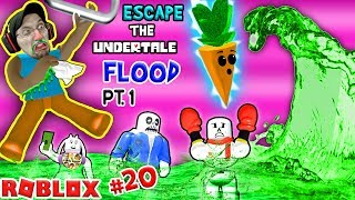 ROBLOX FLOOD ESCAPE!! Undertale Drowning Sick Town! (FGTEEV #20 Gameplay / Skit)