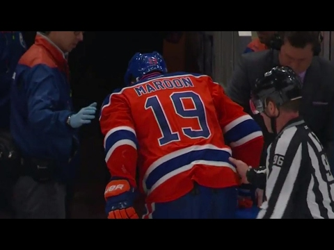 Maroon heads to dressing room after vicious cross check by Beauchemin