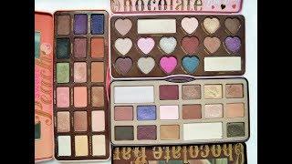 Too Faced Palettes: Chocolate Bar vs Chocolate Bon Bons vs Sweet Peach