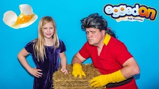 EGGED ON GAME Assistant Plays Beauty and the Beast Gaston in Funny Egg on Game