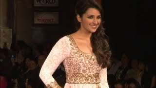 Parineeti Chopra walks the ramp at Mijwan fashion show.