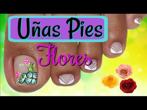 Unas Decoradas Con Flores Y Mariposas Para Pies