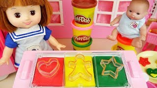 Baby Doli and Play doh cookie making toys baby doll play