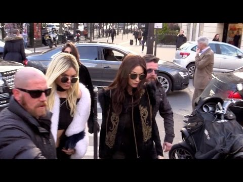EXCLUSIVE Craziness around blonde Kendall Jenner and brunette Gigi Hadid coming out of Balmain to