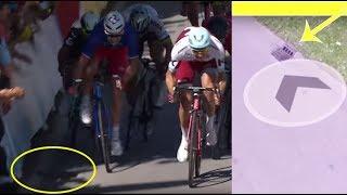 Sagan Cavendish TDF 2017 reason of crash - see close up on channel