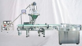 Powder filling machine with screw auger metering feeding system semi automatic filler 半自動粉劑充填機