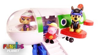 Learning Colors Videos For Kids: Paw Patrol Skye & Chase Flies Peppa Pigs Holiday Jet Airplane