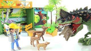 Playmobil Farm Animal Story With Dinosaur Attack! Learn Names of Dinosaurs~ Transforming Robot Hero!