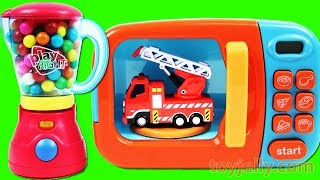 Learn Colors with Toy Cars for Kids Children Just Like Home Microwave Bubble Gum Blender Playset