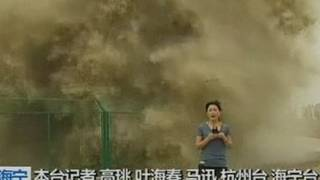 Look behind you! Huge wave lands on TV reporter