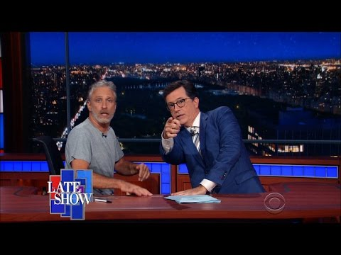 Jon Stewart Takes Over Colbert s Late Show Desk