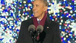 Obama Jokes At Christmas Tree Lighting