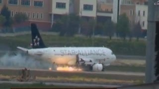 A Turkish Airlines plane makes emergency landing over engine fire