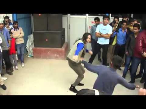 Beautiful indian girl dancing in barat