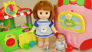 Baby doll carrier house toys and surprise eggs Baby Doli play