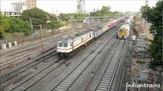 indiantrains@superfast rajdhani express race with local train near goregaon station - mumbai - india