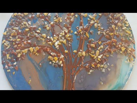 Resin Textured artwork using Rezrok texture paste and gemstones/ Autumn inspired