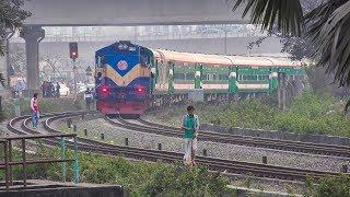 LHB in Action- Sirajganj Express & Silk City Express of BR at Kuril Flyover