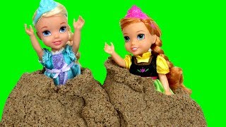 Sand Truck Accident ! Elsa & Anna toddlers - Giant butterfly - Sand Balls & Shapes - Castle