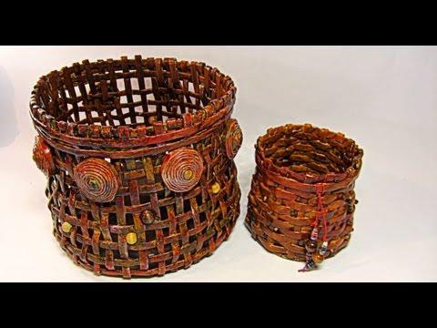 Como hacer cestas de papel periódico. Newspaper basket.