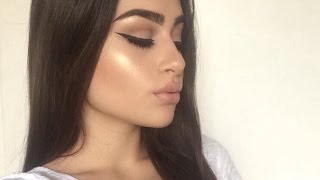 Thick Eyeliner with Glowy Skin and Nude Lips by Aylin Melisa