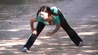 Hot big chested women jogging