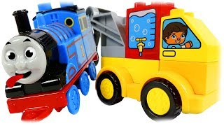 LEGO DUPLO 10816 My First Cars and Trucks, Review with Thomas the Train.