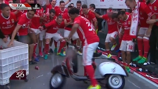 Benfica player takes moped for a spin in changing room after title win – video