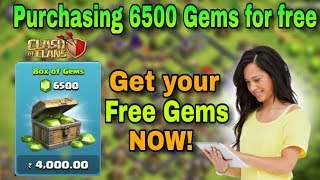 PURCHASING 6500 GEMS in clash of clans FOR FREE!  | Know how you can also get FREE GEMS