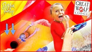 FALLING DOWN GIANT TERRIFYING WATER SLIDE!! At Great Wolf Lodge | Slyfox Family
