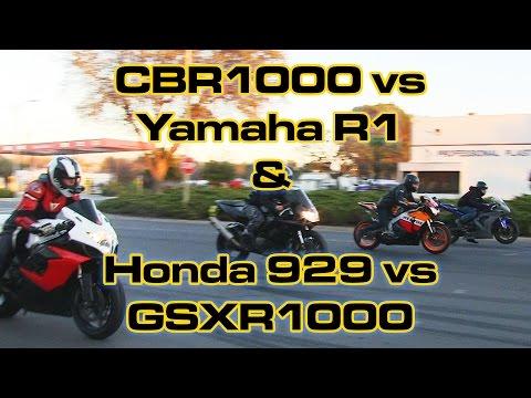 CBR1000 vs Yamaha R1 vs GSXR1000 vs Honda 929