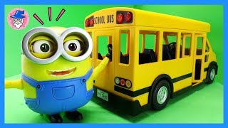 Despicable Me, Minions BOB toys move on the school bus. Cute minions and school bus toy