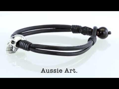 B-257 Men Gift Jewellery Sterling Silver SKULL Wristband Leather Men Bracelet.