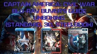 Captain America: Civil War Bluray Unboxing (Standard, 3D, Steelbook) | Bluray Buyer's Guide